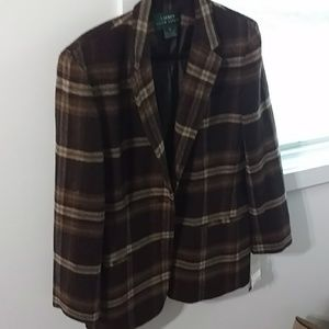 Ralph Lauren  brown wool blazer size12 NWT
